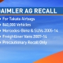 Daimler AG recalling vehicles over air-bag issue